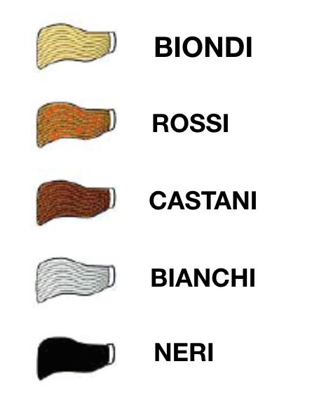 capelli biondi rossi castani bianchi neri