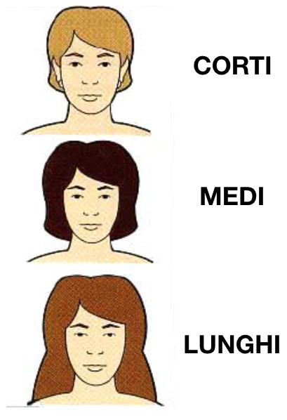 capelli corti medi lunghi